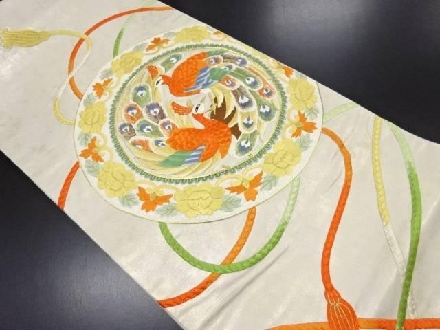【IDN】 絵皿に鳳凰模様刺繍袋帯【リサイクル】【中古】【着】