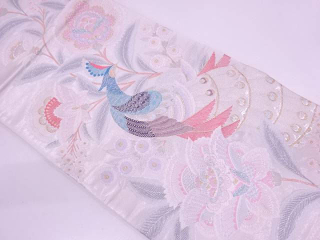 【IDN】 孔雀洋花紋織出し袋帯【リサイクル】【中古】【着】