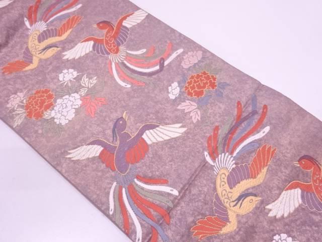 【IDN】 極楽鳥に草花模様織出し袋帯【リサイクル】【中古】【着】