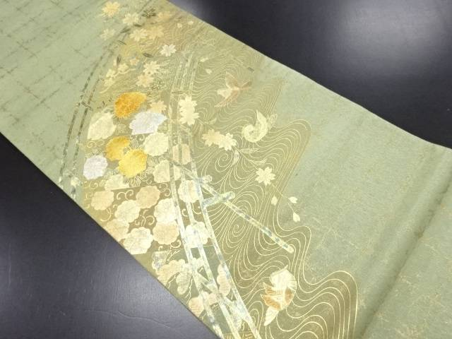 【IDN】 箔置き 橋に枝垂れ桜・鴛鴦模様袋帯【リサイクル】【中古】【着】