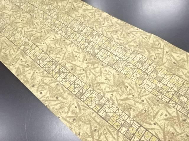 【IDN】 縞に幾何学模様リバーシブル全通袋帯【リサイクル】【中古】【着】
