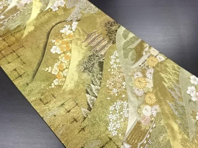 【IDN】 本金箔遠山に桜梅寺院模様織り出し袋帯【リサイクル】【中古】【着】
