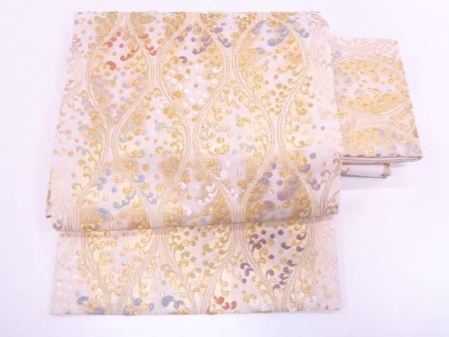 【IDN】 未使用品 唐織変わり立涌に草葉模様織出し作り帯【リサイクル】【着】