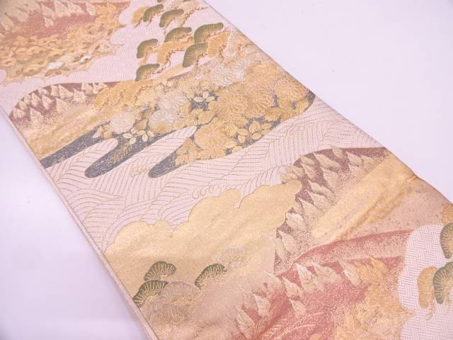 【IDN】 未使用品 武一郎作 遠山に松・草花模様織出し袋帯【リサイクル】【着】