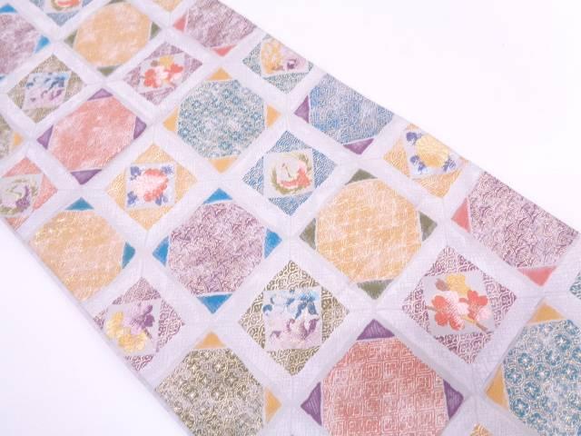 【IDN】 格子に花鳥・古典柄模様織出し袋帯【リサイクル】【中古】【着】