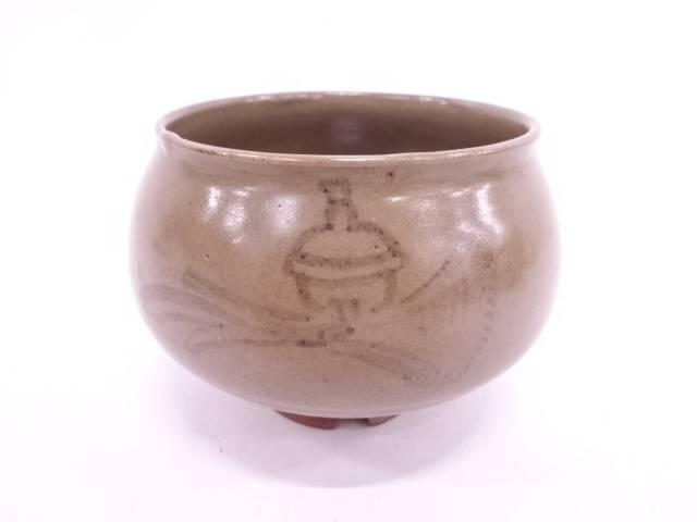 【IDN】 虫明焼 蕎麦釉鈴絵茶碗【中古】【道】