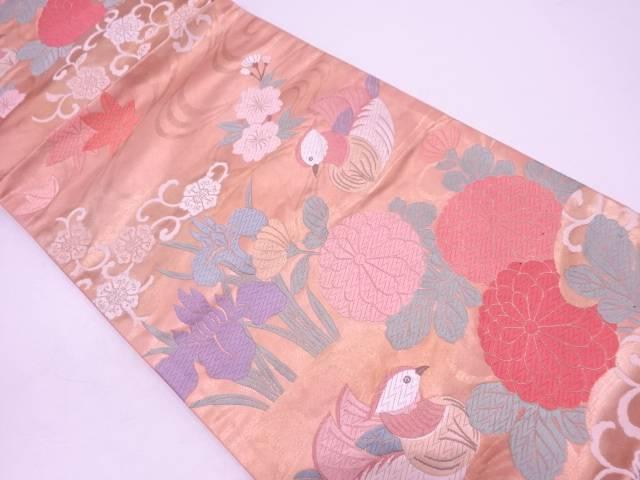 【IDN】 流水に花鳥模様織出し袋帯【リサイクル】【中古】【着】