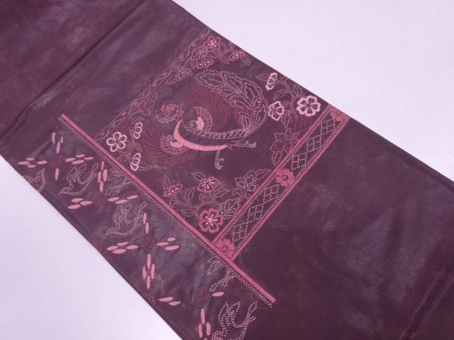 【IDN】 相良刺繍鳳凰に花唐草模様袋帯【リサイクル】【中古】【着】