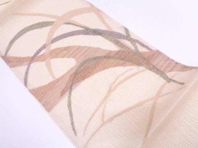 【IDN】 未使用品  紗 すくい織芝草に木模様袋帯【リサイクル】【着】