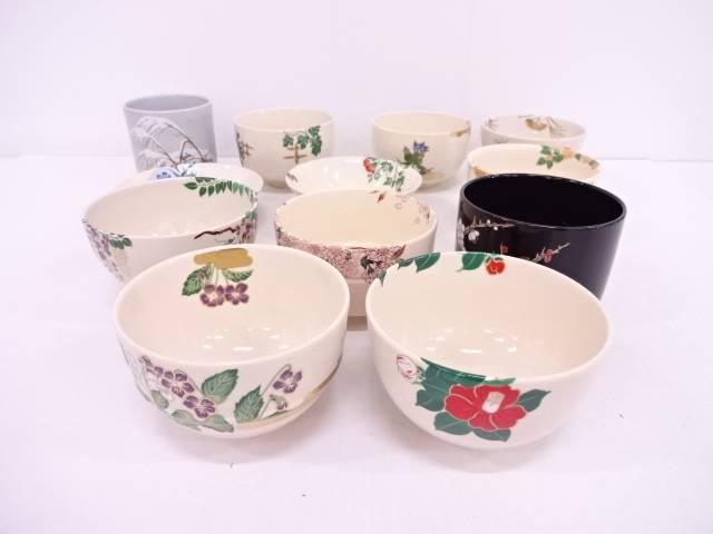 【IDN】 作家物 金彩色絵十二ヵ月茶碗【中古】【道】
