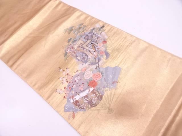 【IDN】 蘇州刺繍扇面に御所車・花鳥模様袋帯【リサイクル】【中古】【着】