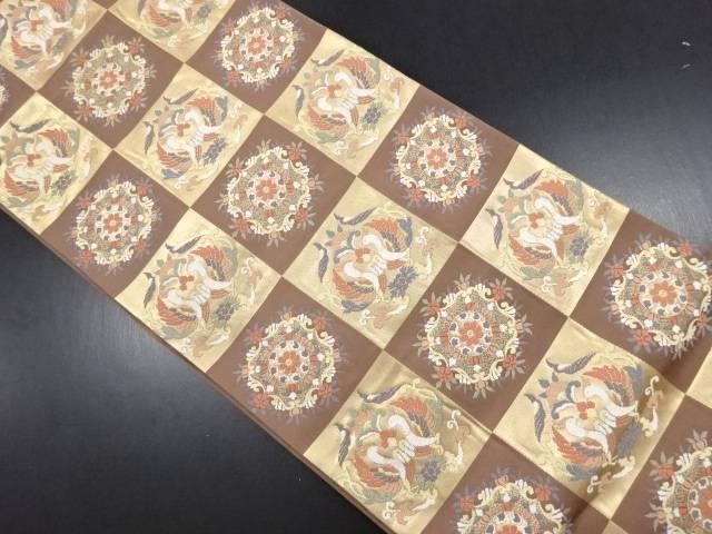 【IDN】 金糸市松に花鳥模様織り出し袋帯【リサイクル】【中古】【着】