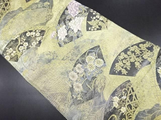 【IDN】 本金地紙に牡丹菖蒲模様織り出し袋帯【リサイクル】【中古】【着】