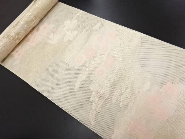 【IDN】 生駒織物製 絽 秋草模様織り出し名古屋帯地反物【新品】【着】