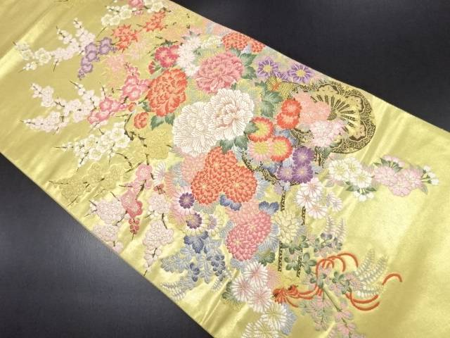 【IDN】 本金箔花車模様織り出し袋帯【リサイクル】【中古】【着】