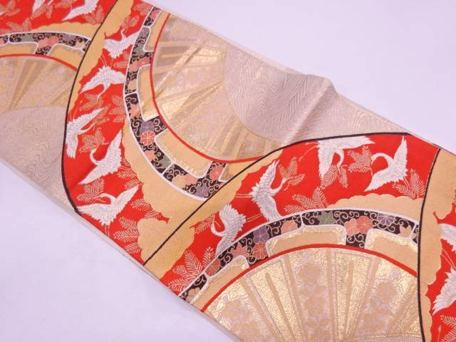 【IDN】 松喰い鶴に花唐草模様織出し袋帯【リサイクル】【中古】【着】
