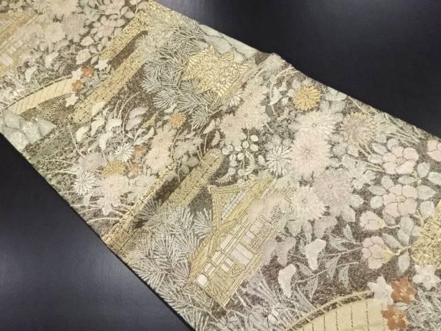 【IDN】 本金寺院に松菊椿模様織り出し袋帯【リサイクル】【中古】【着】