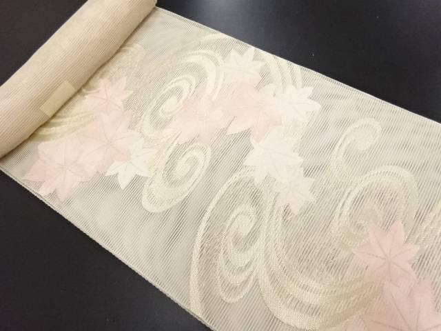 【IDN】 生駒織物製 絽 竜田川模様織り出し名古屋帯地反物【新品】【着】