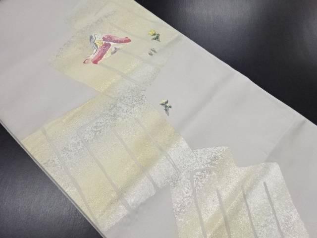 【IDN】 作家物 小式部内侍に源氏香模様織り出し袋帯【リサイクル】【中古】【着】