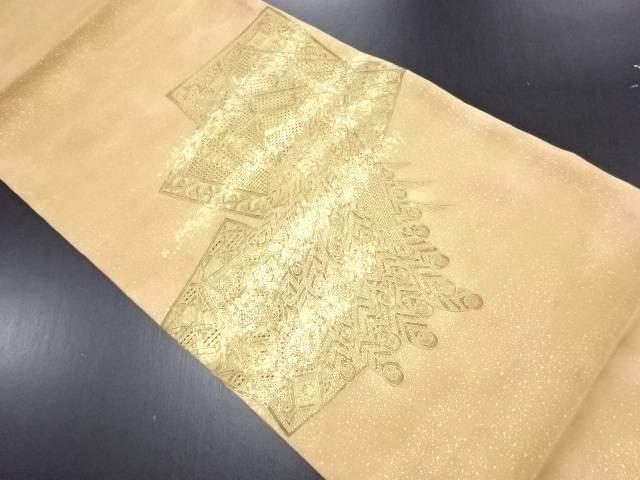 【IDN】 本金汕頭蘇州刺繍色紙に孔雀・華紋模様袋帯【リサイクル】【中古】【着】