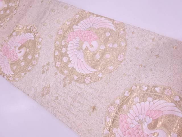 【IDN】 純金箔24K絵皿に孔雀・草花模様織出し袋帯【リサイクル】【中古】【着】