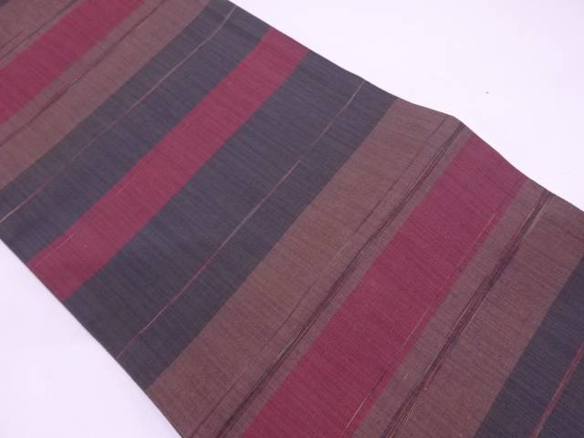【IDN】 未使用品 はくび織製 横段模様織出し袋帯(未仕立て)【リサイクル】【着】