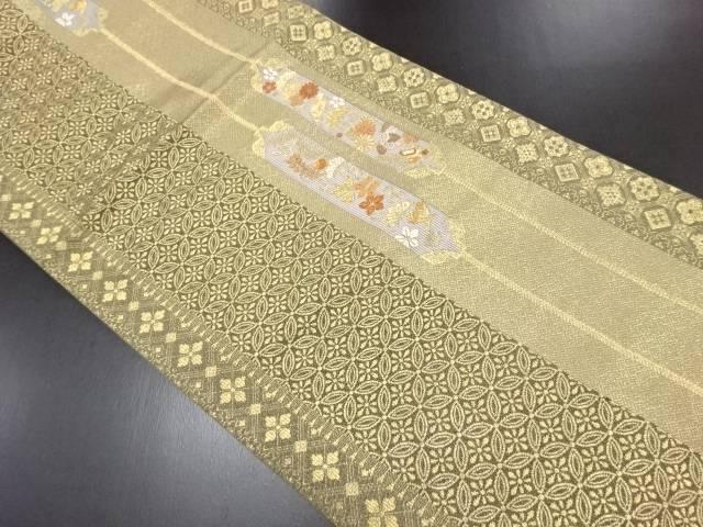 【IDN】 本金縞に七宝花唐草模様織り出し袋帯【リサイクル】【中古】【着】