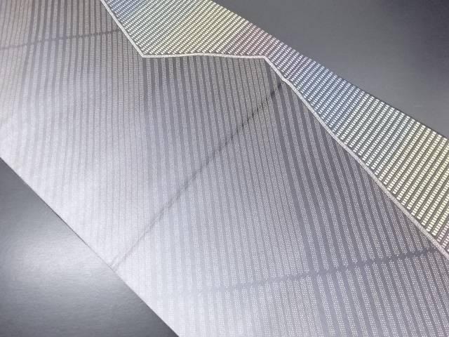 【IDN】 金糸斜め縞・ヒエログリフ模様織り出しリバーシブル袋帯【リサイクル】【中古】【着】