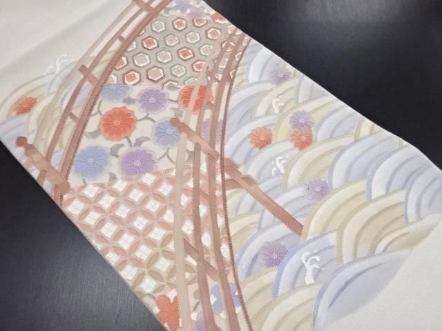 【IDN】 綴れ相良刺繍波に橋・菊・古典柄袋帯【リサイクル】【中古】【着】