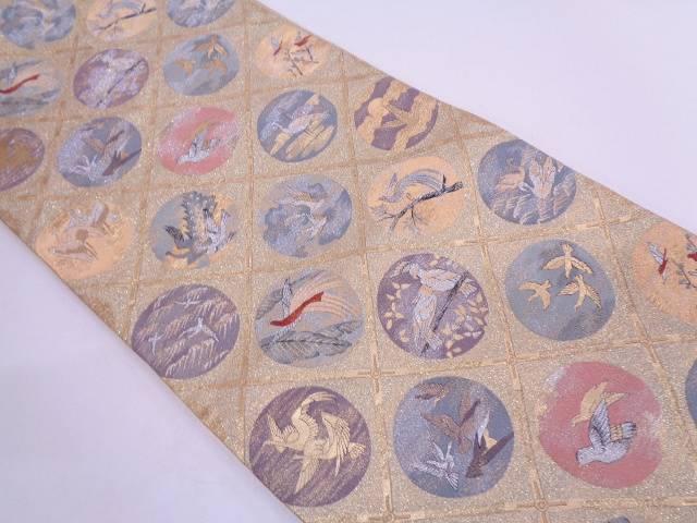 【IDN】 明綴れ格天井に鳥・丸文様織出し袋帯【リサイクル】【中古】【着】