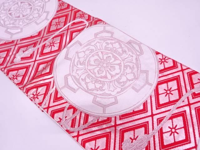 【IDN】 鏡裏に花模様織出し袋帯【リサイクル】【中古】【着】