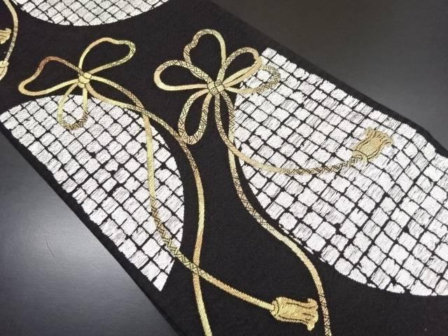 【IDN】 金銀糸 屏風箔に組み紐模様織り出し全通袋帯【リサイクル】【中古】【着】