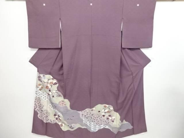 【IDN】 手描き友禅道長取に橘菊模様刺繍三つ紋色留袖(比翼付き)【リサイクル】【中古】【着】