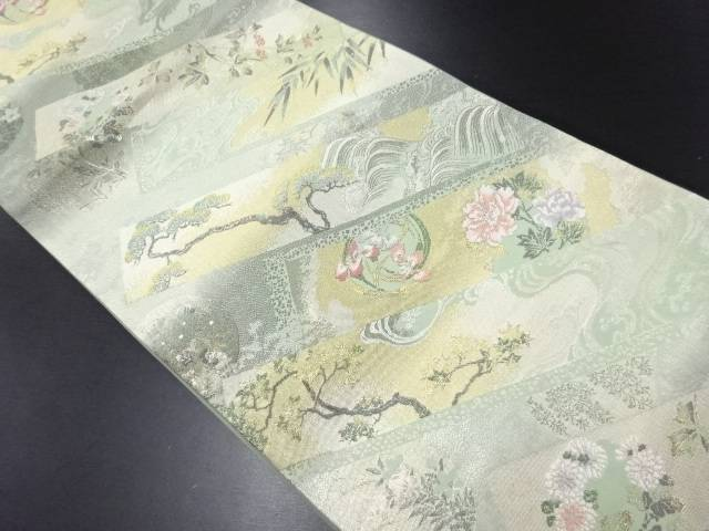 【IDN】 金銀糸荒波に花丸文様織り出し袋帯【リサイクル】【中古】【着】