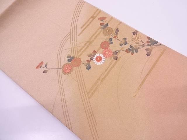 【IDN】 未使用品 ヱ霞に草花模様刺繍名古屋帯【リサイクル】【着】