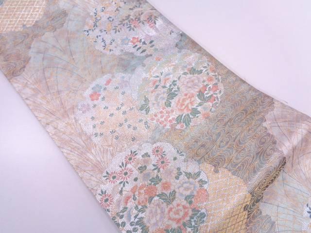 【IDN】 流水に雪輪・花模様織出し袋帯 【リサイクル】【中古】【着】
