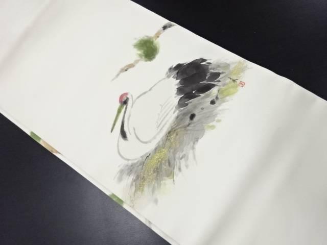 【IDN】 作家物 塩瀬手描き鶴模様名古屋帯【リサイクル】【中古】【着】