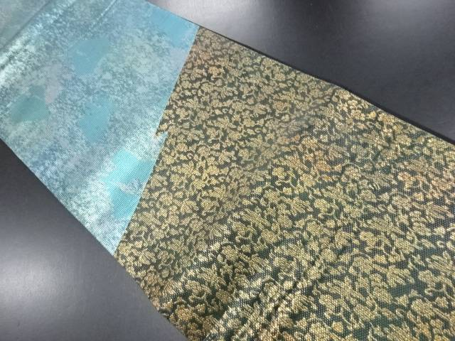【IDN】 引き箔幾何学に花唐草・のり散らし模様袋帯【リサイクル】【中古】【着】