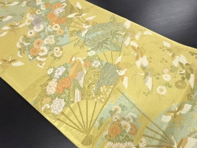 【IDN】 本金花扇に群鶴模様織り出し袋帯【リサイクル】【中古】【着】