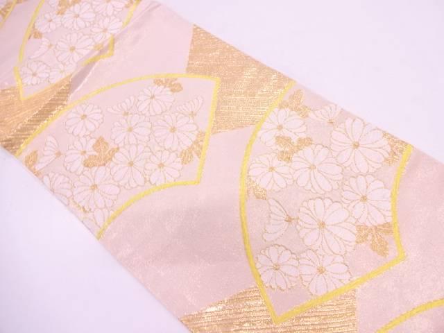 【IDN】 地紙に菊模様織出しリバーシブル袋帯【リサイクル】【中古】【着】