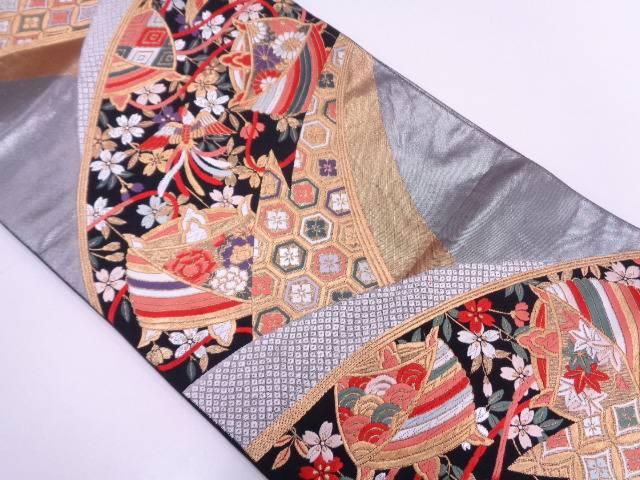 【IDN】 糸巻きに花鳥・古典柄模様織出し袋帯【リサイクル】【中古】【着】