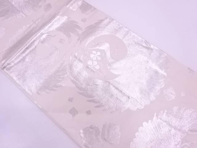 【IDN】 松喰鶴に色紙散らし模様織出し丸帯【リサイクル】【中古】【着】