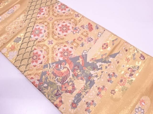 【IDN】 変わり松皮菱に花鳥模様織出し袋帯【リサイクル】【中古】【着】