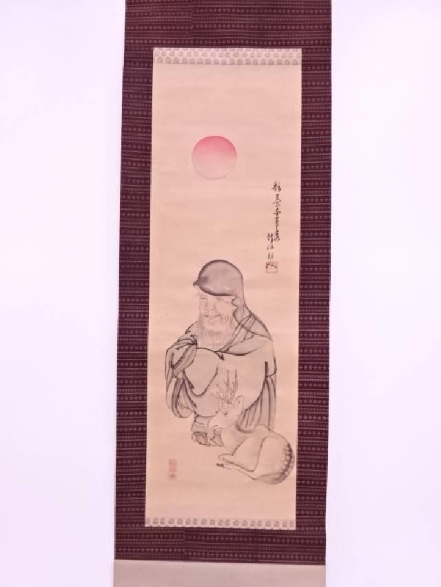 【IDN】 日本画 作家物 鹿寿老 肉筆絹本掛軸【中古】【道】