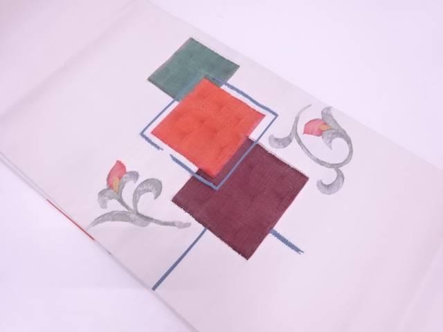 【IDN】 すくい織色紙に花唐草模様織出し袋帯【リサイクル】【中古】【着】