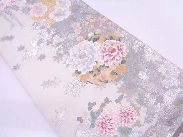 【30%OFF】【IDN】 花丸に楓模様織出し袋帯【リサイクル】【中古】【着】
