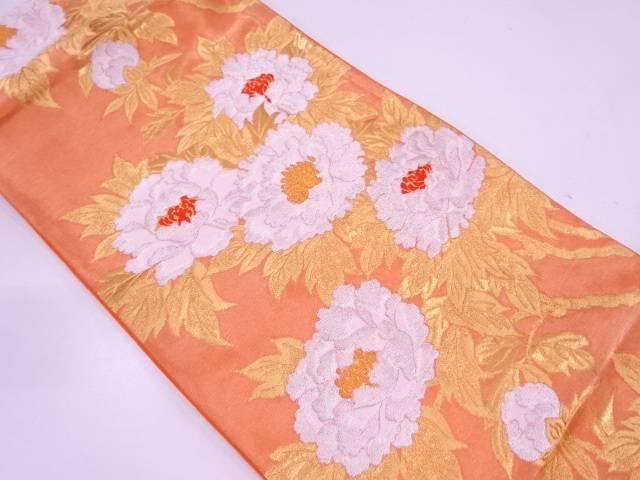 【IDN】 服部織物製 牡丹模様織出し袋帯【リサイクル】【中古】【着】