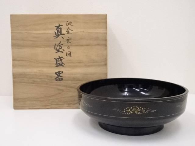 【IDN】 錦光堂造 沈金雲之図真塗盛器【中古】【道】