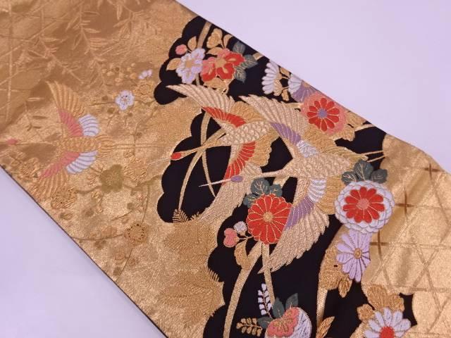 【IDN】 雲取りに鶴・小花模様織出し袋帯【リサイクル】【中古】【着】