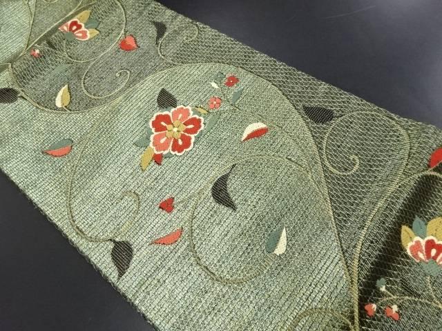 【IDN】 金糸唐花模様織り出し名古屋帯【リサイクル】【中古】【着】